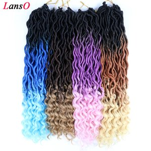 """18"""" Ombre Goddess Faux locs Crochet Hair 70g pc Wavy Curly Faux Locs Crochet Braids Goddess Twist Crochet Hair With Curly Ends"""