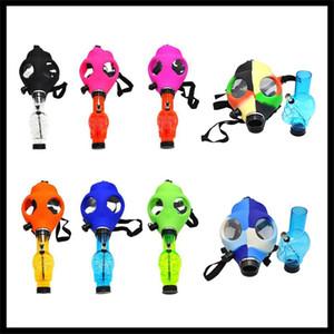 Gas máscara de silicona Tubo con fumadores Bong acrílico colores de camuflaje sólido diseño creativo para Dabber seco Hierbas Concentrado