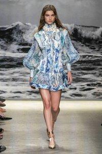2020 в Австралии большой бренд весна и лето стоя воротник суд ретро элегантный знаменитость темперамент показывает тонкие и тонкие печати платье выглядит