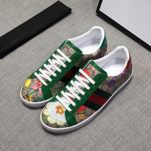 A1 Designer sneaker Ace leather sneaker Genuine Leather trainers men Classic Casual Shoes python tiger bee Flower Embroidered