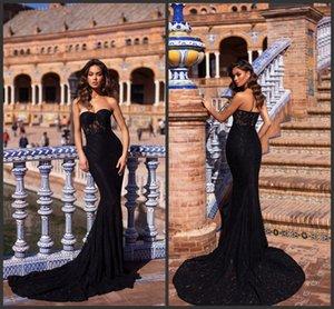2019 New Elegant Black Mermaid Prom robes chérie dentelle formelle robes de soirée balayer train sans manches Pageant Party Dress Plus la taille