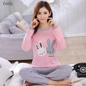 Women Pajamas Set Spring Autumn New Thin Cartoon Printed Long Sleeve Cute Sleepwear Casual Homewear Female Pyjamas