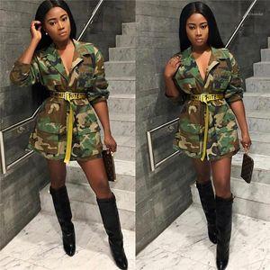 Autumn Casual Streetwear Turn Down Collar Long Sleeve Pocket Outwear Jackets Plus Size Fashion Camouflage Long Coat Women Spring