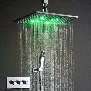 """Termostática torneira do chuveiro Set 10"""" Cabeça de chuveiro LED alimentado por Rain Water torneira do chuveiro Water Wall Saving Montado Box Chrome"""