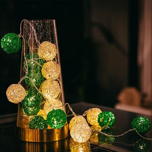 Factory LED Luminaria Exterior Rattan Garland Balls Light String Indoor New Year Decor Wedding Bedroom Christmas Tree Decoratio