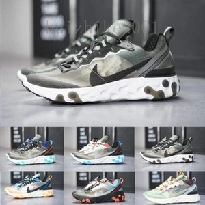 2020 React Element 87 55 designer Running Shoes Men Women Casual Airs Shoes Light Bone 87s Triple Black Bred Team Trainers Sports Sneaker