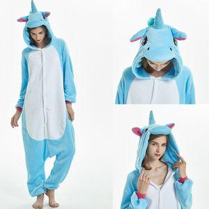 Kigurumi Unicorn Pajamas 2019 겨울 성인 스티치 라이온 타이거 유니콘 세트 여성 남성 Unisex Flannel Overalls