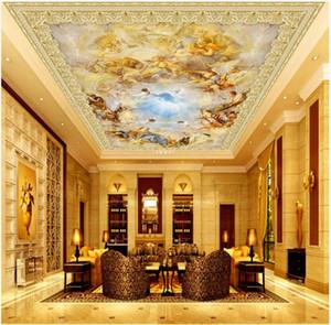 WDBH 3d soffitto murale carta da parati foto personalizzata dipinti europei in marmo di angeli riempiono il mondo decorazioni murales 3d carta da parati
