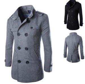 Männer Luxuxentwerfer Jacken Wolle dünne lange Hülsen Stehkragen Herren-Jacken Freizeit Ober mit Knopf