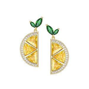 2019 New Arrival real prata esterlina 925 brincos Fine Jewelry Brand Design Lemon brincos para mulheres Drop Shipping