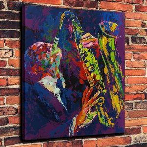 (Unframed / Framed) Leroy Neiman 색스 맨, 1 조각 캔버스 인쇄 벽 예술 유화 홈 장식 24x30.