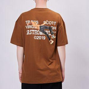 19ss Travis Scott Astroworld Ortak Sporcu Harf Baskı T-Shirt Casual Basit Moda Plajı Spor Kahverengi Tee Yaz Sokak HFHLTX033