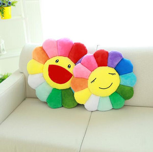 Sunflower Plush Toy Sofa Cushion Colorful Sunflower Cushion Diameter 40cm Home Textiles Decorative Pillow