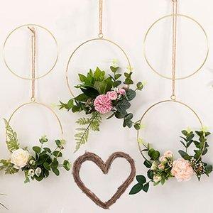 10-40cm Metal Iron Ring обручи DIY Цветок Венок Венок невеста венчания души Искусственная Цветочные стойки Rattern цветок Хооп Декор