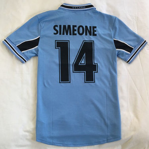 1999 2000 Retro Vintage Klasik Lazio Simeone 14 Nesta 13 Veron Salas Maillot De Ayak Futbol Formaları Tayland Kalite Futbol Gömlek Seti