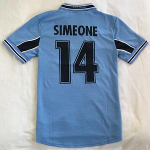 1999 2000 Rétro Vintage Classic Lazio Simeone 14 Nestta 13 Veron Salas Maillot de Foot Soccer Jerseys Thaïlande Quality Shirts Kit