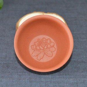Patrón 2 piezas / lote 30ML Yixing arcilla púrpura taza de té en relieve la flor del Peony primas Mineral de Yixing tazas de té Tieguanyin Puer Cuencos regalos teaware