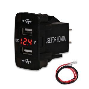 4.2A Dual Port Car USB Socket Charger Para Smartphone Carregadores de carro Com LED USB Car Adapter Charger 12V For Honda USB
