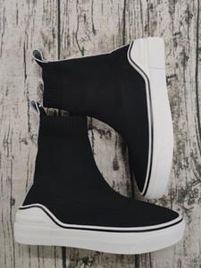 럭셔리 디자이너 싼 블랙 패션 줄무늬 평평한 바닥 두꺼운 양말 부츠 캐주얼 신발 운동화