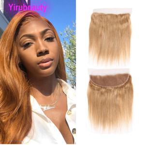 Brezilyalı Virgin Saç 27 # İnsan Saç Düz 13X4 Dantel Frontal ile Bebek Saç 27 Renk Bal Sarışın İpeksi striaght 10-22inch