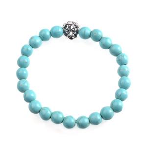 Naturstein Perlenarmband - 8mm natürliche Edelstein Perlen Paar, Männer und Frauen Stressabbau Yoga Perle Semi-Edelstein elastische Angst Br