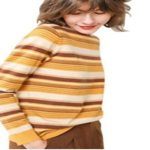 Fall And Winter 2020 New High-necked Striped Base Shirt Ladies High-necked Warm Sweater Knit Pullover Long Sleeve Cashmere Sweater