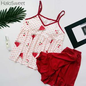 Kadınlar Şort için HaloSweet Pure Cotton Yaz pijamalar Kadın Pijama Kadın Ev Giyim Giyim Pijama İki Adet Sling Takımları