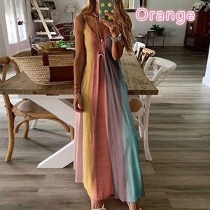 New Robe Femme Stretch Summer Dress Women Casual Beach Spaghetti Loose Dresses Boho Sexy Gradient Print Long Dress Plus Size 5XL