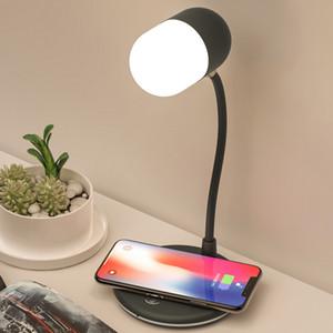 3 в 1 Гибкая светодиодная настольная лампа USB зарядка с беспроводным зарядным устройством Bluetooth динамик настольная лампа Smart Touch Dimmer освещения зарядные устройства L4