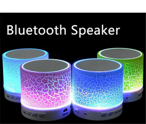 Mini portable A9 crackle texture Bluetooth Speaker with LED light can insert U disc, mobile phone player with retail box DHL free ship