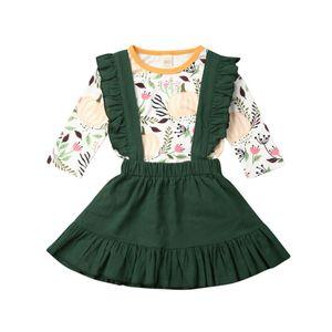Dia das Bruxas-nascidos Bebés Meninas Conjuntos Tops abóbora T-shirt + saia tutu Roupas Festival Macacões Set