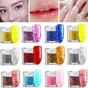 12 colores de uñas brillo del arte del polvo fino de las lentejuelas mezcla de polvo de esmalte en gel UV Uñas Decoración del reflejo de inmersión Chrome Nail Powder