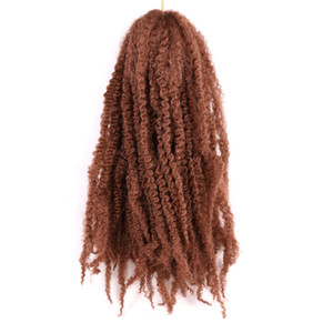 20INCH Afro Kinky завитые Bulk Синтетический волос 110г / шт Crochet Наращивание волос Marlybob крючком Плетение волос для американских африканских женщин
