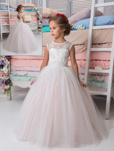Lovely Princess Sparkly Lace Beaded Arabic Flower Girl Dresses Crew Vintage Child Party Birthday Gown Beautiful Girl Wedding Dresses