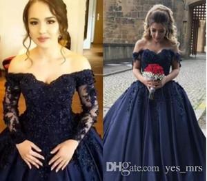 2020 Темно-синий Синий Цюрьереера Платья Бальное платье с плечом 3D Цветочные Кружевные Аппликации Бисероплетенные Обувенные Поезд Сатин Corset Prom Вечерние платья