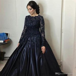 Waishidress темно-синий бальное платье Вечерние платья Сияющий кристалл аппликацией Кружева Пром платье Jewel Длинные рукава Формальные партии мантий