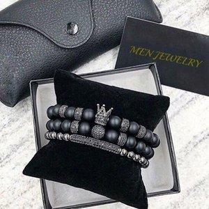 Norooni 2018 2pcs / set uxury Mode Crown Charm Armband Naturstein für Frauen und Herren Pulseras Masculina Geschenke Geschenk