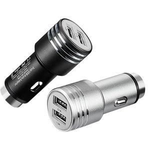 Cargador de coche de aleación de aluminio de seguridad Martillo 2A metal Cargadores Adaptador Universal Dual USB para teléfono móvil Samsung 200pcs