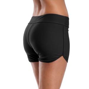 Tamanho Grande Feminino Swim Shorts conservador Boxer Anti-desvio longo de cinco pontos Calças de peça única de Mulheres Base de preto Shorts
