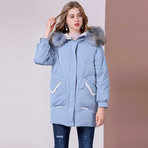 Ms üst seviye Beyaz Elbise Gevşek-Fit Duck 2020 Yeni Stil Coat aşağı Kış Moda kapüşonlu% 90 Jacket aşağı sıcak ceket kalınlaşmış