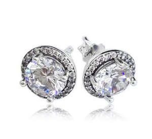 Genuine 925 Sterling Silver Pure white round diamond earrings Fit Women Bead Charm Europe Fashion Diy Jewelr