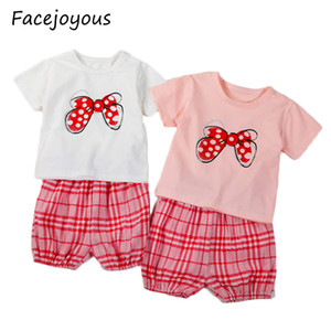 Baby Clothing Sets Summer Baby Boys Clothes Infant Cotton Girls Tops Cartoon T-shirt+plaid Shorts Outfits Kids Clothes Set