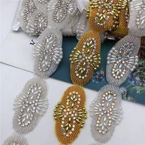 Crystal Pearl Motif Strass Hot Fix Rhinestone fita fita com strass ferro em apliques para vestir cinto de casamento