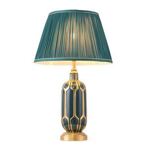 Nuova tabella arrivo retrò rame americano lampade lampade da tavolo classica ceramica albergo lampada da scrivania camere da letto villa soggiorno di lusso decorativo a led