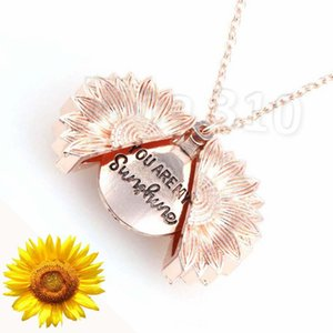 new Unique Design You are My Sunshine Sunflower Necklace Sunflower Locket Necklace Can Open Pendant Necklace JewelryT2C5139