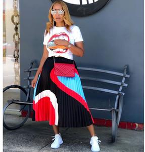 Для женщин контрастного цвета плиссированные юбки лета способа вскользь Длинная линия юбка Famale Дизайнер одежды