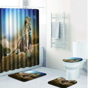 Estampado de leones con estampado de leones, antideslizante, almohadilla de inodoro para el hogar, alfombrilla de baño + juego de cortinas de ducha