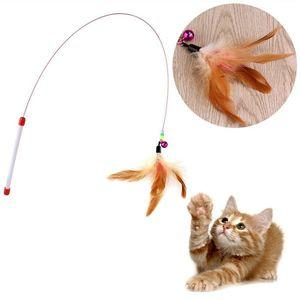 Fio Engraçado Brinquedo Do Gato Com Sinos De Penas Engraçado Vara Do Gato Suprimentos Para Animais De Estimação Engraçado Gato Pet Teaser Feather Toy Fio