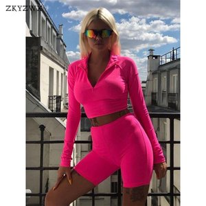 ZKYZWX Femmes Tenues Sporting Court Two Piece Set Crop Top + costume de cycliste Shorts Printemps moulante 2 pièces Assortiments femmes Survêtement