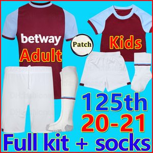 20 21 Вест футбол джерси Хэм 2020 2021 Юнайтед майки футболка мужчины + детский комплект 125 лет 125-й комплект носков West soccer jersey Ham 2020 2021 United